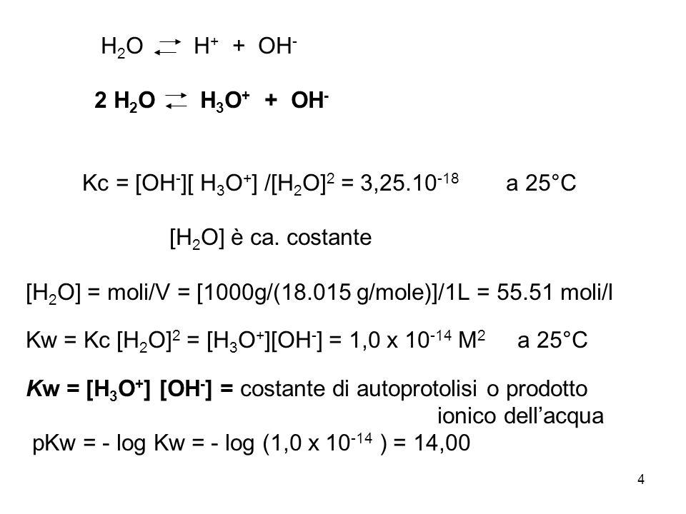 H2O H+ + OH- 2 H2O H3O+ + OH- Kc = [OH-][ H3O+] /[H2O]2 = 3,25.10-18 a 25°C.